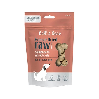 BELL & BONE Freeze Dried Raw Dog Treats Salmon With Carrot And Kale 100G