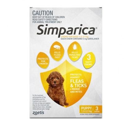 SIMPARICA 1.3-2.5kg Puppy Dog Tick & Flea Chewable Treatment 3 Pack