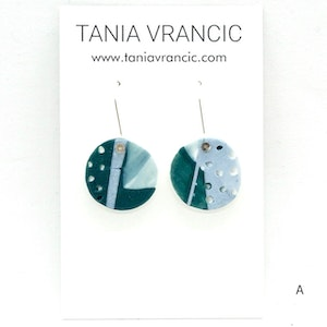 Painterly Porcelain Small Drop Earrings - Teal/Blue/White