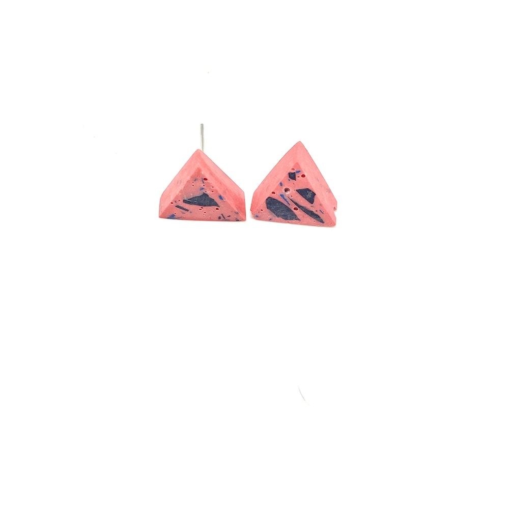One of a Kind Club Pink Vivid Jesomite Triangle Earring Studs B