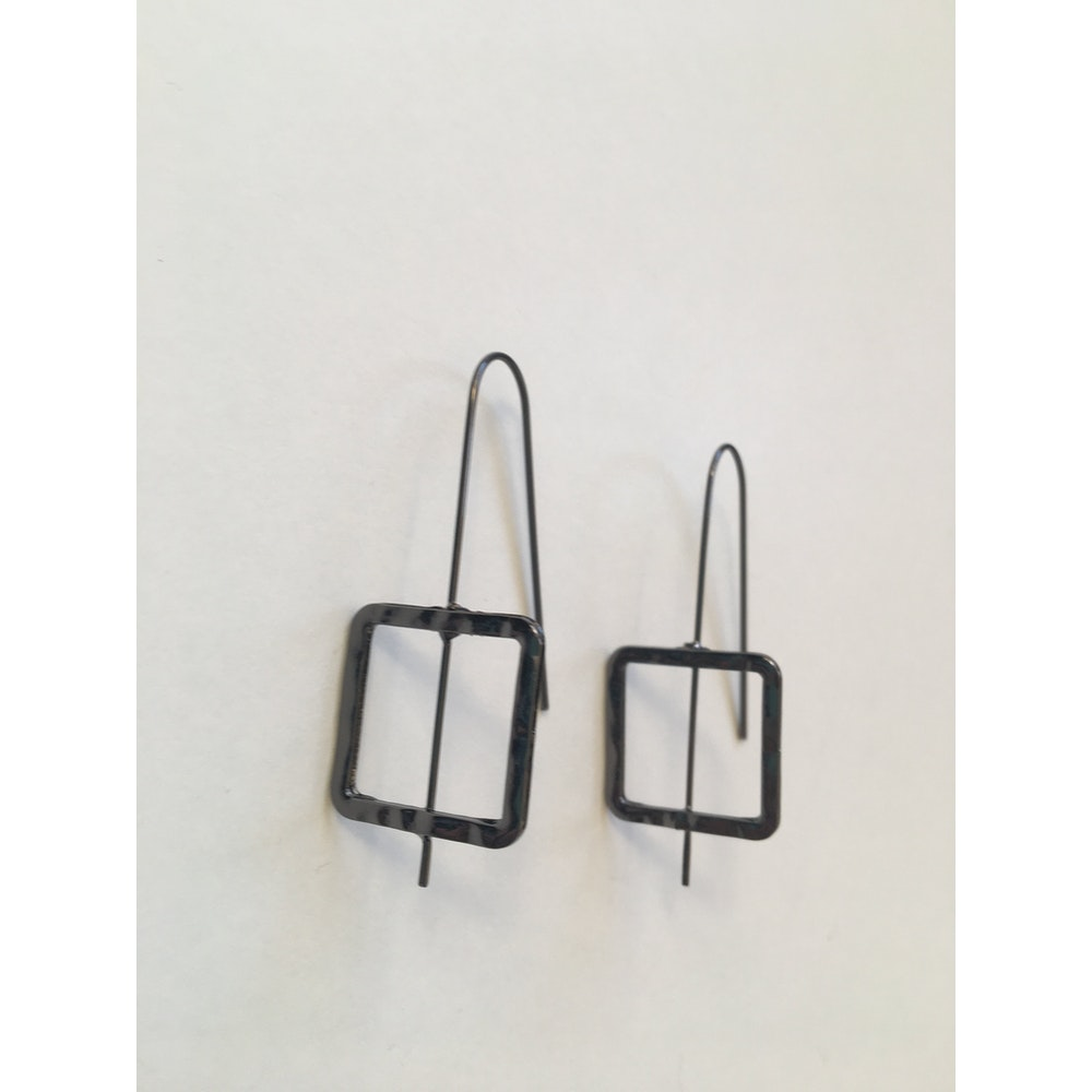 One of a Kind Club Square Hammered Dark Silver Earrings