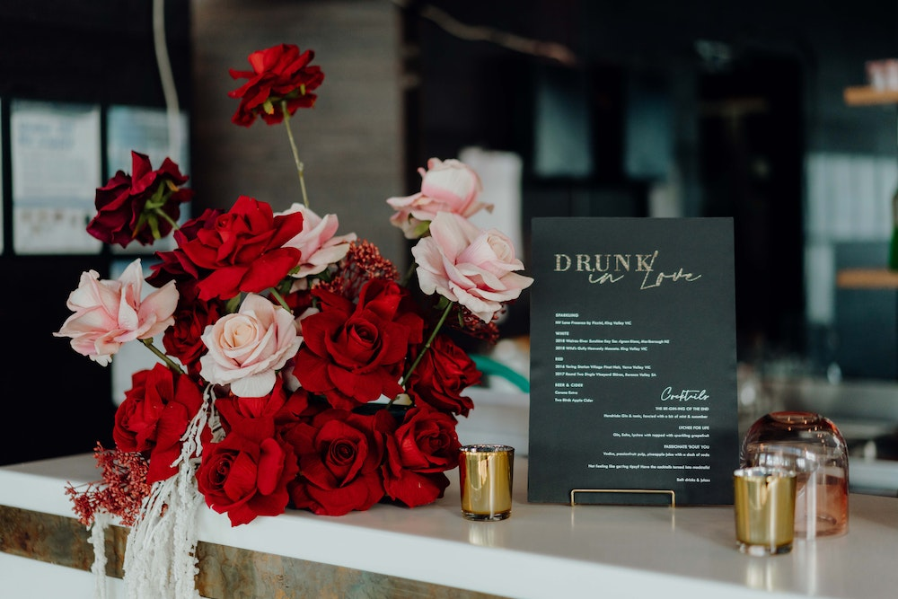 red pink gold romantic Vietnamese engagement party