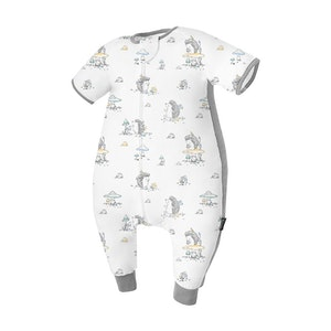 Domiamia  Silky Bamboo Cotton Short Sleeve Sleepsuit with Stretchy Side Panel- Mr. Hedgehog (0.23 Tog)