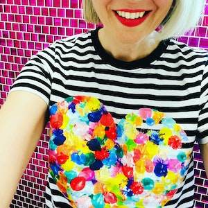 Rainbow Heart T'Shirt - Black and White Striped