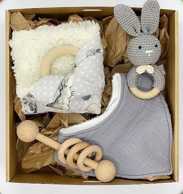 Avie Designs Grey Rabbit! Newborn Baby Gift Box