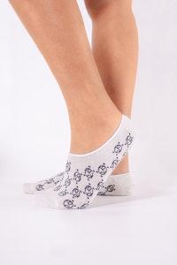 1 People Modal Monogram No Show Socks in All White