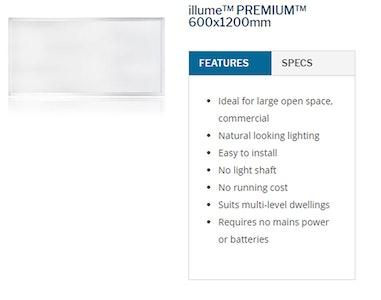 Sky Lights 600 x 1200mm Rectangle Solar Powered LED Kimberley Illume