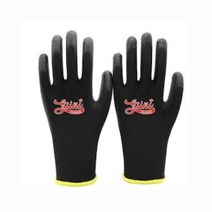 Saint 13 Gauge Black Polyester PU Palm Coated Work Gloves 1x Pair