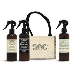 Euclove Naturally Clean - Best Seller Pack - Kitchen, Bathroom, Bedding & Mattress Spray + Jute Caddie