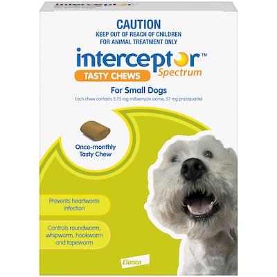 Interceptor Spectrum 4+ Kilos Small Dogs Tasty Treat Green Chew - 2 Sizes