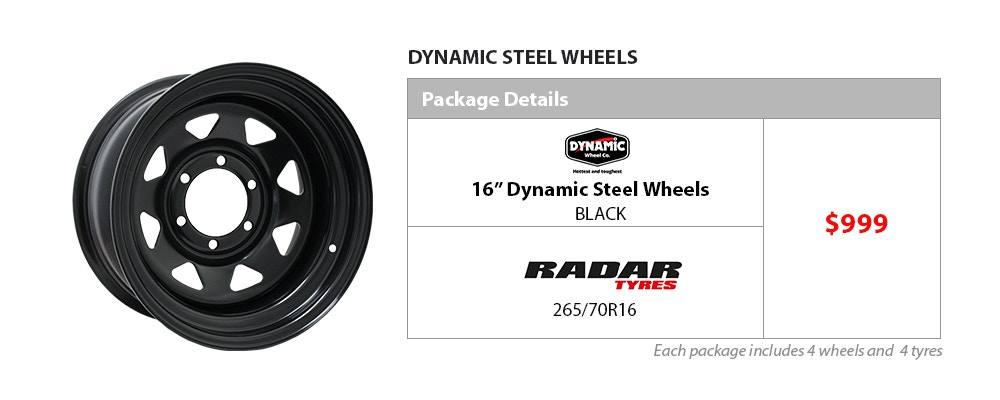 """16"""" Dynamic Wheel and Tyre Package $999"""