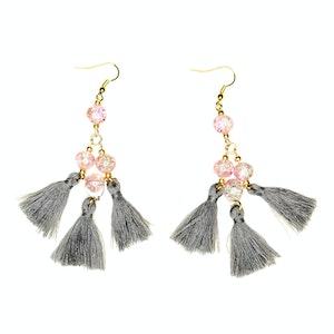 Global Sisters Shop Camila Tassel Earrings - Grey