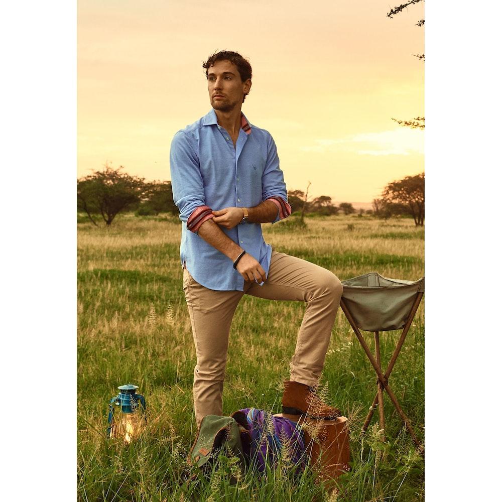 Koy Clothing Jiwe Blue Pique Cotton Shirt