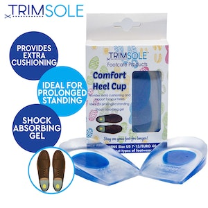 Boutique Medical TRIMSOLE Men's Comfort Heel Cup Silicone Gel Pad Cushion Insoles Inserts  (1 Pair)