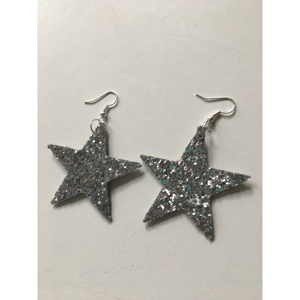 One of a Kind Club Silver Glittery Star Shaped Earrings