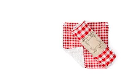 Global Sisters Shop Katie Kwilted Tea Towels - Red Check