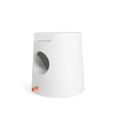 Furrytail Mayitwill XL Castle 2 in 1 Front-Entry Cat Litter Box with Scratch Basin, Scoop included, White