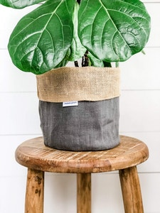 Pot Plant Cover - Graphite Linen and Hessian Reversible