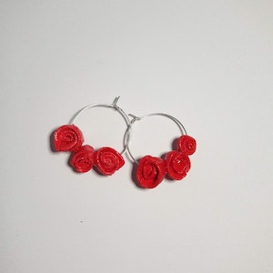 Liliz Lu Studio ROSE EARRINGS made of paper-based paste, painted and molded by hand, nickel-free silver hoop. super light.