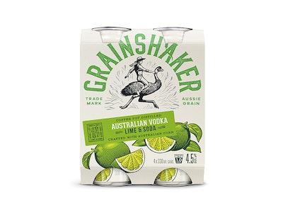 Grainshaker Vodka & Lime Can 330mL 4 Pack