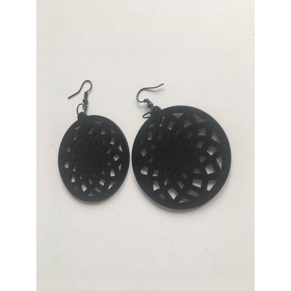 One of a Kind Club Black Wood Spiral Circle Dangle Earrings