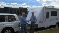 Andrew Ryan hands new Jayco over to Graham Wallace