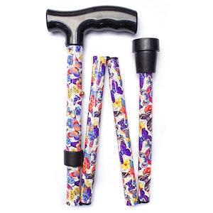 """Safe Home Care Folding Walking Stick Butterflies 33"""""""