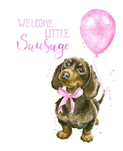 Welcome Little Sausage Card - Pink