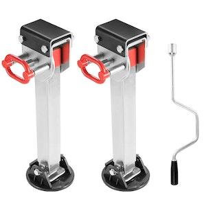 2x 590MM Corner Legs Drop Down W/Handle Steel Base 1500LBS