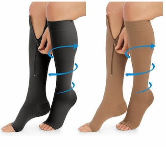 SoftMed Medical compression socks-knee high open toes with zipper CLASS 1 (15-20)mmhg