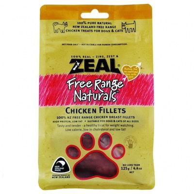 Zeal Free Range Naturals Chicken Fillets Dog Cat Treat 125g