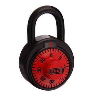 ABUS Circular Combination Padlock with Key Override – Red Face 78KC50