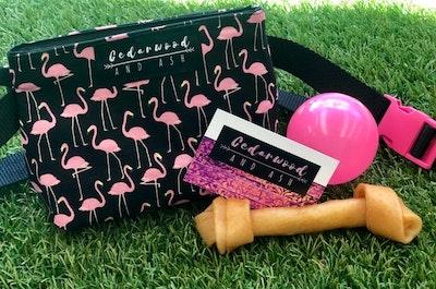 Cedarwood and Ash Pink Flamingo Dog Treat Holder Belt Bag perfect for Dog Training and walks