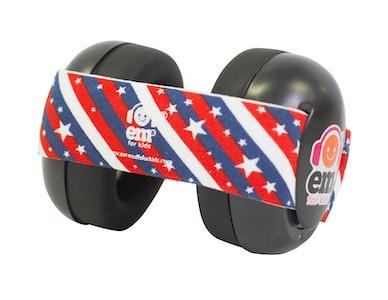 Ems for Kids BABY Earmuffs - STARS N STRIPES on Black