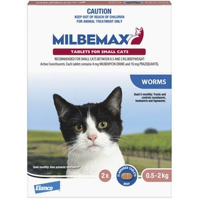 Milbemax Under 2kg Cat Broad Spectrum Allwormer Tablets - 2 Sizes