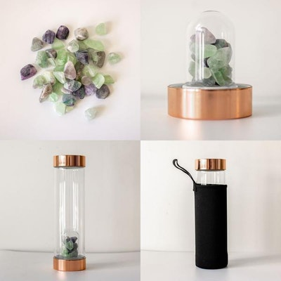 Us and The Earth Rose Gold Crystal Water Bottle   550ml With Gemstone Pod