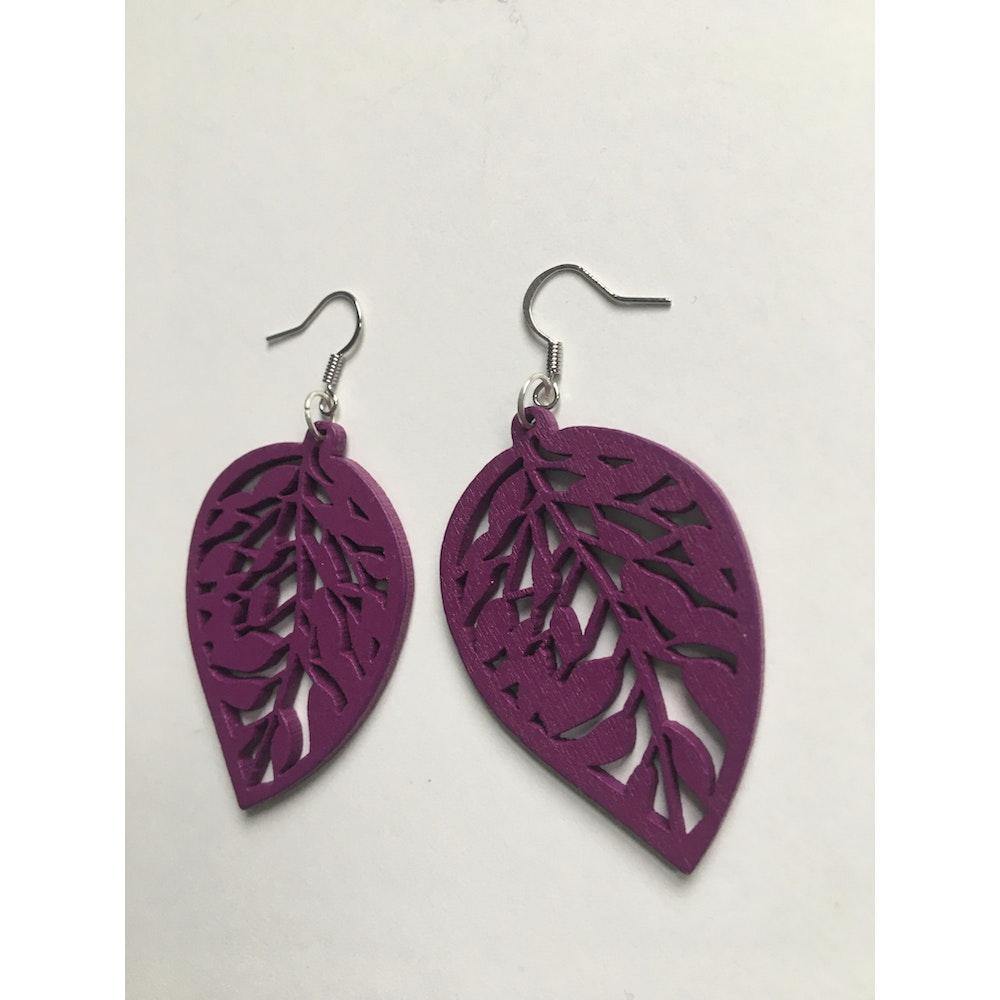 One of a Kind Club Purple Wooden Leaf Earrings