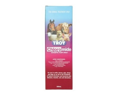 Troy Chloromide Antiseptic Insect and Fly Spray for Dogs Horses 500ml