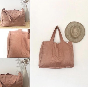 Linen Tote Bag - Peach