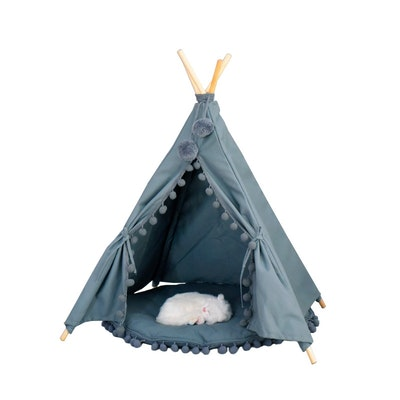 House of Pets Delight Pom Pom Teepee With Mat in Grey