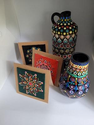 Divine Dotting Vase Hand Painted Dot Art (LARGE)