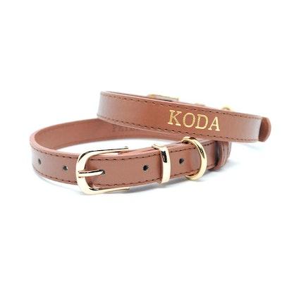 Petzy Brown - Premium Personalised Pet Collar (Gold)