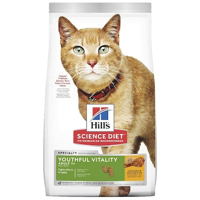Hills Adult 7+ Youthful Vitality Dry Cat Food Chicken & Rice - 2 Sizes