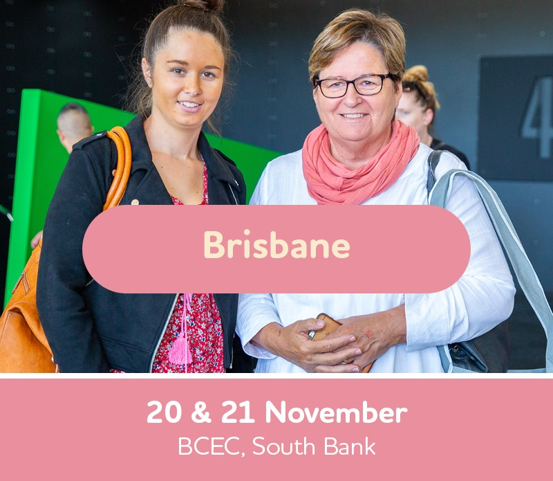 Text box with Brisbane Expo dates, 20th and 21st November, Brisbane convention and exhibition center, South Bank