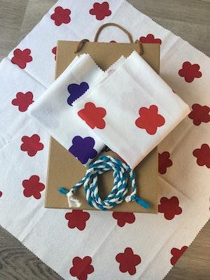 Julevidge Boomerang rewrap, reusable fabric gift wrap, flower bundle.