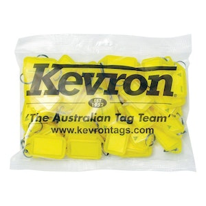 Kevron ID5 Easy Opening Plastic Key Tags – 50 Pack – Yellow