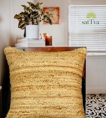 SATTVA WORLD Avanī BOHO Handmade Decorative Braided Jute Cushions Cover