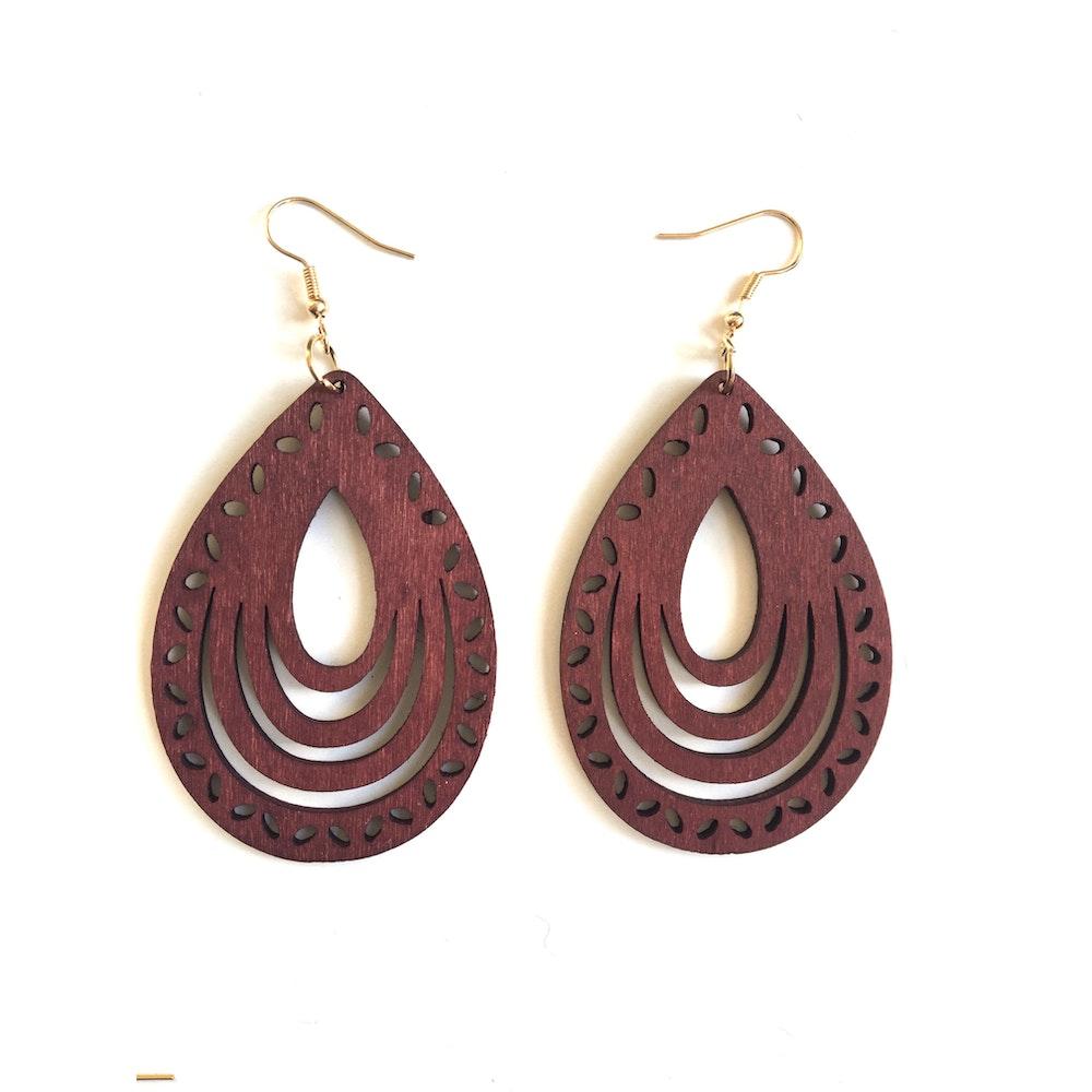One of a Kind Club Burgundy Wooden Dangle Earrings